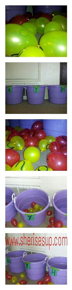 Fun game to get your preschool child recognizing letters! Take 3 buckets and label them with the 3 uppercase letters you are working on (A,Y,H).  I played with 2 kids, so I used 2 different color balloons (one color for each child). Label a bunch of balloons with the lowercase letters you're working on (a,y,h). Now have the kids match the lowercase balloons with the uppercase bucket.   Help beginners with putting the balloon in the right bucket and use a timer for your more advanced child…