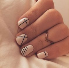 We love these lines for an eye-catching nail art! (Credit: Lara C)