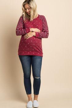 d1619d55166d Burgundy Striped Sleeve Polka Dot Maternity Sweater. Maternity  SweatersMaternity ...