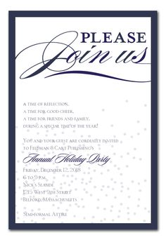 Classic Flurry - Holiday Invitations by Invitation Consultants. Event Invitation Templates, Event Invitation Design, Corporate Invitation, Business Invitation, Holiday Invitations, Invitation Cards, Party Invitations, Invitation Wording, Invitation Ideas