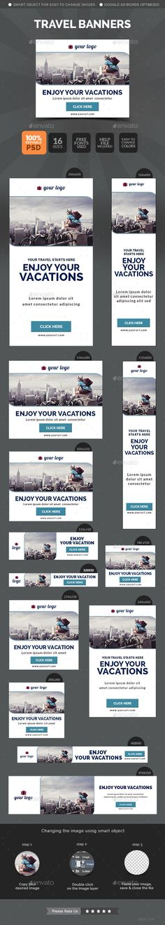 Travel Banners - Banners & Ads Web Template PSD. Download here: http://graphicriver.net/item/travel-banners/10799510?s_rank=1771&ref=yinkira