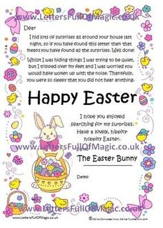 Free Personalized Letter From The Easter Bunny  Small Letters