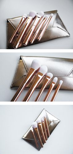 A full arsenal of cosmetic brushes and a chic envelope clutch for easy on-the-go use.