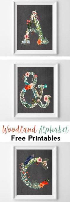 woodland alphabet free printable wall art   nursery printables   nursery wall art   chalkboard   cheap art