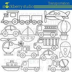 Transportation Clipart  Plane Train and by stockberrystudio, $5.00