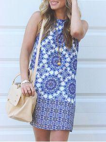 Blue White Sleeveless Vintage Print Dress -SheIn(Sheinside)