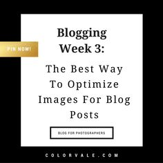 Blogging Week 3:  The Best Way to Optimize Images for Blog Posts -- Blog for photographers to grow their business http://www.colorvaleactions.com/blogging-week-3-best-way-optimize-images-blog-posts/?utm_campaign=coschedule&utm_source=pinterest&utm_medium=Colorvale&utm_content=Blogging%20Week%203%3A%20%20The%20Best%20Way%20to%20Optimize%20Images%20for%20Blog%20Posts
