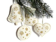 White felt christmas home decor embroidery by myRainbowWorld, $24.00