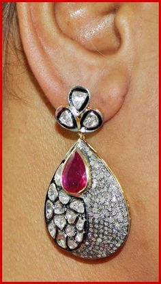 """Signature Victorian Collection....known for its international taste and appeal!    """"Rowella""""...only $1,520 or P66,880!!  9.12ct SINGLE/UNCUT DIAMOND RUBY 14k GOLD ANTIQUE VICTORIAN LOOK DANGLE/EARRING! Imported, world-class quality, not pre-owned, not pawned, not stolen. WE DELIVER WORLDWIDE ♥"""