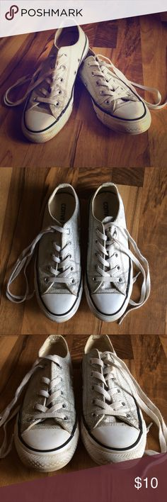 8743a61566aa Women s Silver Converse Size 6 Silver Converse Shoes Size 6 Medium hard wear  overall.