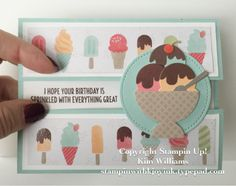 """Here's a """"cool"""" creative card fold using the new stamp set, """"Cool Treats."""" There are so many fun things to do with this set and its coordinating """"Frozen Treats"""" framelits. This card fold is called, Peek A Boo Gate Fold. It seems everyone is using this fold lately. So, I..."""