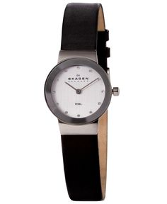 Skagen Watch, Women's Black Leather Strap 358XSSLBC - Women's Watches - Jewelry & Watches - Macy's