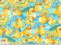 RAINY DAY DUCKS Fabric New 100 Cotton Quilting by StitchinAway, $8.95