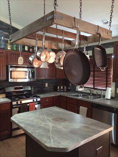 Rustic Country Primitive Hanging Pot Rack  Pot Rack Furniture Simple Kitchen Pot Rack Inspiration