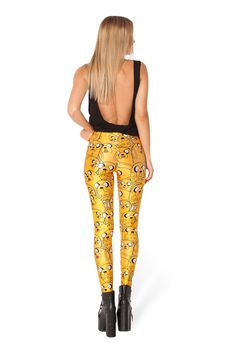 Yellow Cartoon Print Leggings   Read More:   http://www.ownjewelry.com/yellow-animal-print-leggings.html