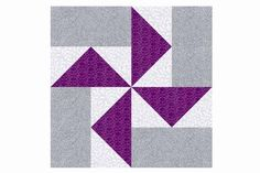 Basic pinwheels are backed by a highlight fabric in the Louisiana Pinwheels quilt block pattern. Sew with a theme or have a scrapfest.