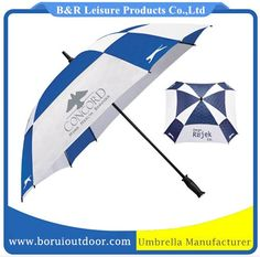 Vented golf umbrella double layer blue and white, full fiber frame manual open_golf umbrellas branded_umbrellas made in china