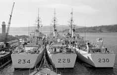 Left to right are HMCS Assiniboine HMCS and HMCS Margaree all St. Navy Military, Army & Navy, Royal Canadian Navy, Navy Day, Navy Ships, Us History, Submarines, Aircraft Carrier, Model Ships