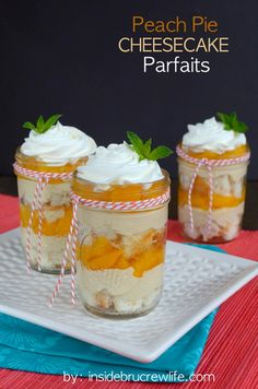 Peach Pie Cheesecake Parfaits - no bake parfaits are a great fancy dessert for a brunch or a picnic outside