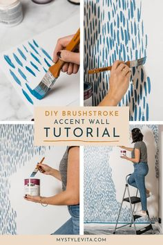 DIY Brushstroke Accent Wall Tutorial - - Rachael initially suggested a wallpaper for this wall. Instead, I decided to mimic the wallpaper and do a DIY brushstroke accent wall. Easy and fun to do. Accent Wall Bedroom, Diy Bedroom, Master Bedroom, Diy Home Decor Projects, Brush Strokes, Home Design, Design Design, Design Ideas, Diy Painting