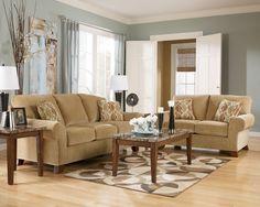 Beige Sofa Loveseat Get Rid Of Pillows Add Ottoman Living Room Paint