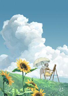The Wind Rises fanart painting study, Dhang Ayupratomo Studio Ghibli Art, Studio Ghibli Movies, Aesthetic Anime, Aesthetic Art, Old Anime, Anime Art, Studio Ghibli Background, Studio Ghibli Characters, Le Vent Se Leve