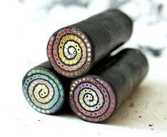 Polymer clay spiral cane set (3ps)