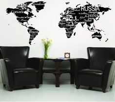World Map with Countries Black wall saying vinyl lettering home decor decal stickers quotes by Wall Sayings Vinyl Lettering, http://www.amazon.com/dp/B008UB8YVI/ref=cm_sw_r_pi_dp_nmgvrb1HBBFZJ