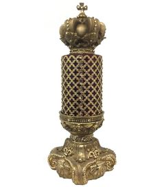 Our Hand Poured, Triple Scented, 4x6 Candle with Jeweled Mesh sets perfectly on our Jeweled 4x6 Candle Base. The decorative candleis topped off with a Jeweled Crown that has over...