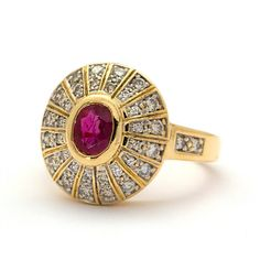 Halo Vintage Ruby and Diamond ring in 18k Yellow Gold