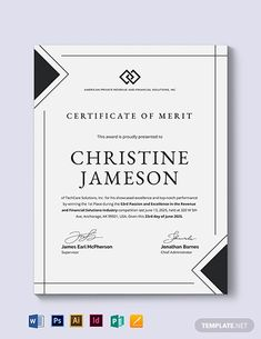 Simple Certificate of Merit Template Certificate Of Merit, Certificate Format, Certificate Design Template, Training Certificate, Certificate Courses, Letterhead Template, Brochure Template, Flyer Template, Id Card Design