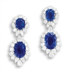 A Pair of Impressive Sapphire and Diamond Earrings, Van Cleef and Arpels.