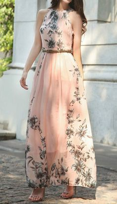 Women's Sleeveless Floral Printed Maxi Dress with Belt