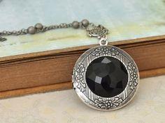 silver locket necklace DARK VICTORIAN rare by plasticouture