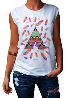 Women's T-Shirt INDIAN TEND - 100% Made in Italy - 100% Cotton - BOHO COLLECTION http://www.doubleexcess.com/