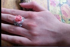 Rose Cabbage Ring on Filigree, Vintage Ring, Shabby Chic Ring, Summer Gift Sale Perfect Engagement Ring, Vintage Engagement Rings, Vintage Rings, Crochet Wrist Warmers, Fall Gifts, Vintage Shabby Chic, Bridesmaid Gifts, Beaded Jewelry, Cabbage
