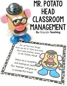 FREE printable for using a Mr. Potato Head as a classroom management tool! FREE printable for using a Mr. Potato Head as a classroom management tool! Disney Classroom, New Classroom, Classroom Decor, Classroom Tools, Year 3 Classroom Ideas, Classroom Board, Classroom Procedures, 2nd Grade Classroom, Classroom Games