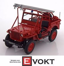 Norev Willys Jeep Fire Department 1988 Red Model Car 1:18 Genuine New Best Gift