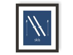 Ski Art Print Great for your little future skier. Perfect for a nursery, childs bedroom and playroom.