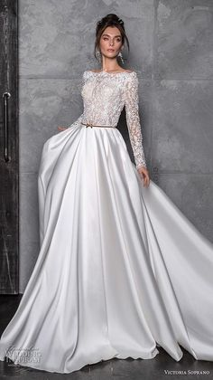 victoria soprano 2020 bridal long sleeves bateau neckline heavily  embellished bodice satin skirt glamorous a line. Brides Dresses LaceSparkly  ... 4f7a8590ad67