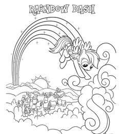 High Quality Coloring Book My Little Pony: Rainbow Dash Over Ponyville Coloring Page    My Little Pony Coloring Pages