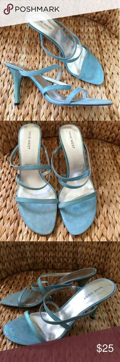 New Nine West Blue Glitter Suede Sandals 9.5M Cute New Nine West Glitter Suede Strappy Sandals in Turquoise Blue Suede. Size 9.5M. Really Pretty sandals for summer days or evenings.... Nine West Shoes Heels