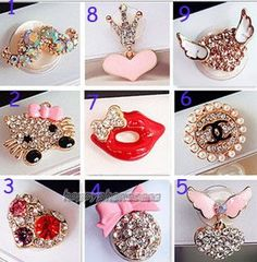 home button, Phone Charm, New crown Rhinestone Flower Home Button Sticker For iPhone 3G 4,4s,4g, iPhone 5, iPad,