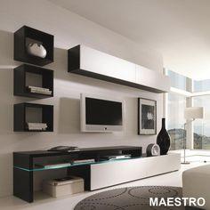 Amsterdam Modern Wall Unit by Creative Furniture Wall Unit Designs, Living Room Tv Unit Designs, Tv Wall Design, House Design, Tv Unit Decor, Tv Wall Decor, Ideas Decorar Habitacion, Tv Unit Interior Design, Modern Interior