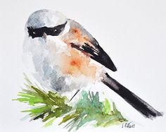 Gorrión de pintura acuarela Ave ORIGINAL en neutro colores 6 x