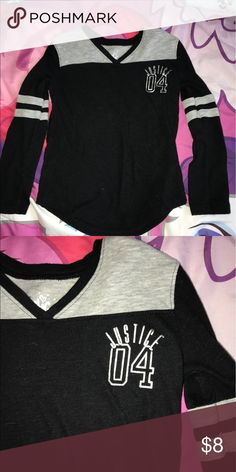 Girls justice shirt Girls black and sliver Justice shirt size 5.. In great condition no fading or any signs of wear. Justice Shirts & Tops Tees - Long Sleeve