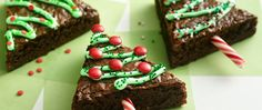 Cut up brownies to create a fun holiday treat. Decorating is child's play.