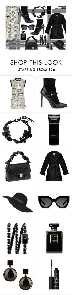 """""""work"""" by juliehalloran ❤ liked on Polyvore featuring Rochas, Prada, Valentino, Givenchy, Miu Miu, Carven, Topshop, Karen Walker, Chanel and Marc by Marc Jacobs"""