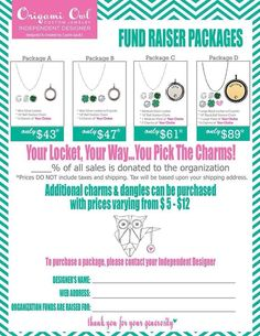 Have a fundraiser! You can choose to offer the packages on the flyer or we can create new ones. This is a beautiful way to raise money for your cause. October is around the corner and many people are raising money for breast cancer research. Origami Owl has several charms, dangles, and tags that would be wonderful to honor yourself or a loved one who has fought or is fighting breast cancer. Contact me right away to set up your fundraiser!  Shop: skayedreamer.origamiowl.com  Items pictured…