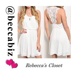 Gorgeous crochet accent dress in Ivory  Dress is Fully lined   Please see size chart.   Price is firm unless bundled.   10% off Bundles of 2 or more.    (Photos used with permission of designer) Boutique Dresses